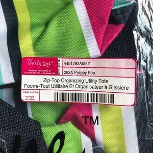 Thirty One Bags Thirtyone Zip Top Organizing Utility Tote New